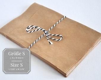 25 paper bags brown S - 9.5 x 15 cm, flat bag
