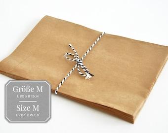 25 paper bags brown M - 13 x 20 cm, flat bag