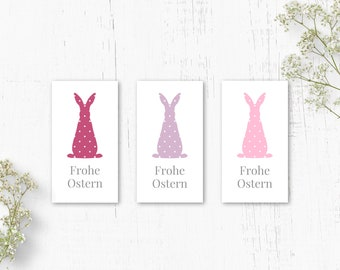 Sticker Easter Bunny, Sticker Happy Easter, Easter Sticker Pink, Sticker Set Pastel, Rectangular Labels