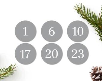 Advent Calendar Numbers Sticker Grey, Advent Numbers 1-24, Advent Calendar Modern