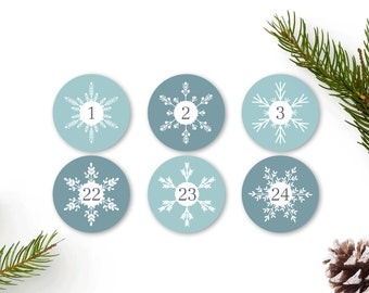 adventcalendar numbers stickers snowflakes blue, 1-24