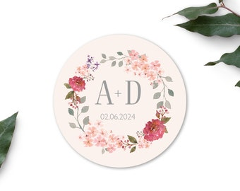 Wedding sticker save the date - personalized planner stickers, 40 mm, 24 pieces, wreath Marsala Suite