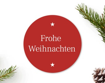 Merry Christmas Stickers, Stars - 40 mm, Christmas Stickers Red