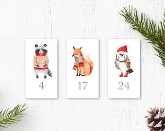 adventcalendar numbers stickers woodland animals for children, 1-24