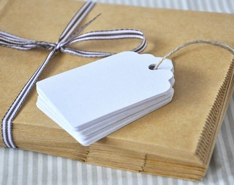 Gift tags white, 4 x 7 cm, pendant for guest gifts, tags made of paper