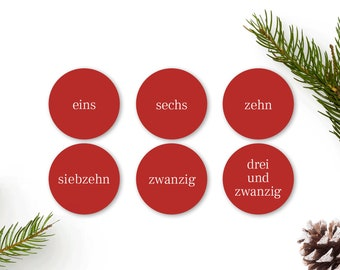 Advent calendar numbers stickers red, Advent numbers 1-24 in words, stickers for advent calendars