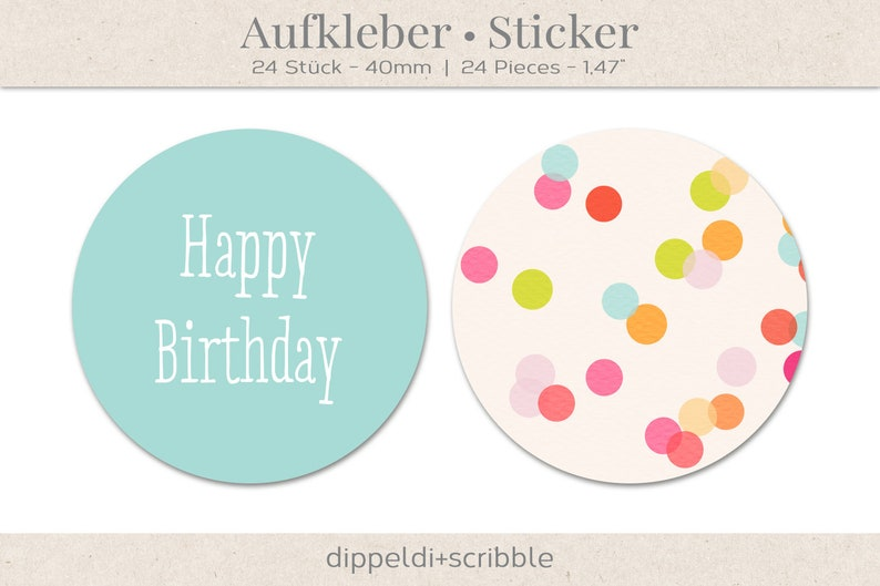 24 Stickers Happy Birthday Or Happy New Year Confetti With Color Choice Pink Or Mint 40 Mm