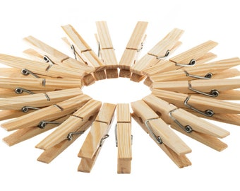 24 wooden pegs natural 7cm, clothespins
