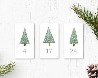 adventcalendar numbers stickers christmas trees, 1-24