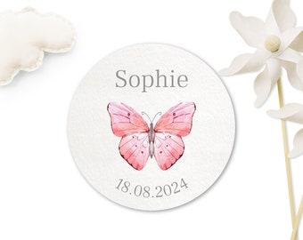 24 Stickers Baptism Butterflies - Motif of choice, 40 mm, Customizable Stickers