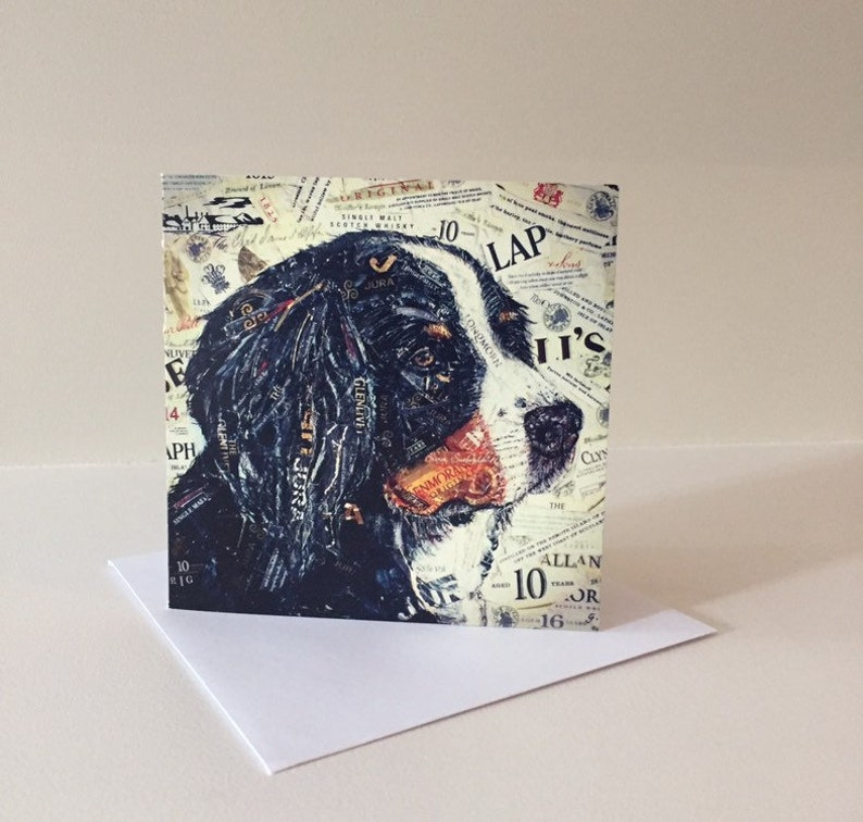 Bernese Mountain Dog card Pack of 4 dog themed Black and Tan  whiskey themed greetings card with envelope.