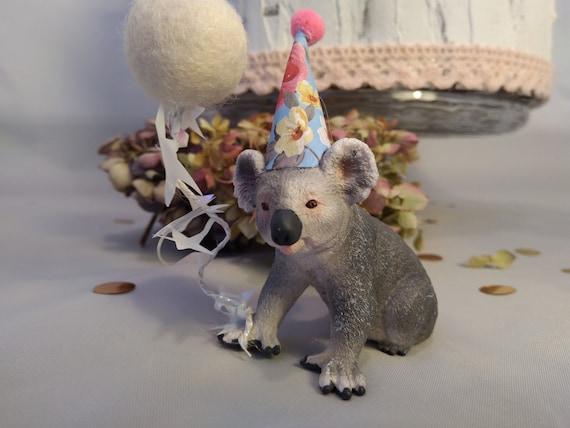 Awesome Schleich Koala Bear In Party Hat Animal Cake Topper Birthday Etsy Funny Birthday Cards Online Hetedamsfinfo