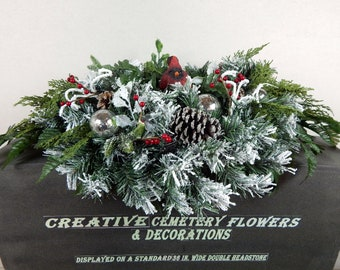 christmas memorial decoration cardinal ornament cemetery flower double headstone saddlegrave pillow gravesite spray tombstone flowers