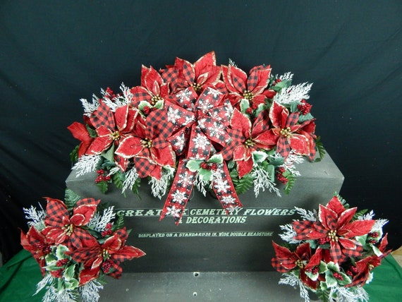 Christmas Artificial Poinsettia Cemetery Flower Headstone Standard 3 Inch Vase Grave Decoration