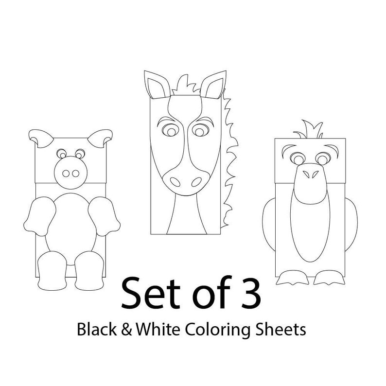 graphic relating to Printable Paper Bag Puppets identified as Farm Pets Paper Bag Puppets - Mounted of 3 - BLANK for Coloring - Printable Children Craft