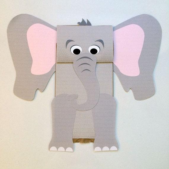 Elephant Paper Bag Puppet Printable Kids Craft Etsy