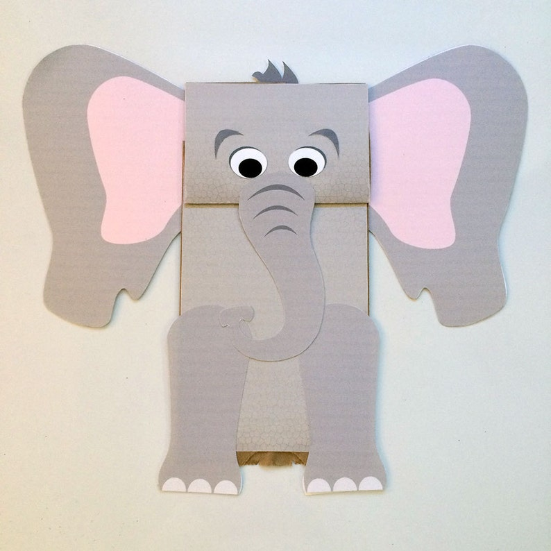 Elefante De Papel Títeres De Bolsa Arte Infantil Para Etsy