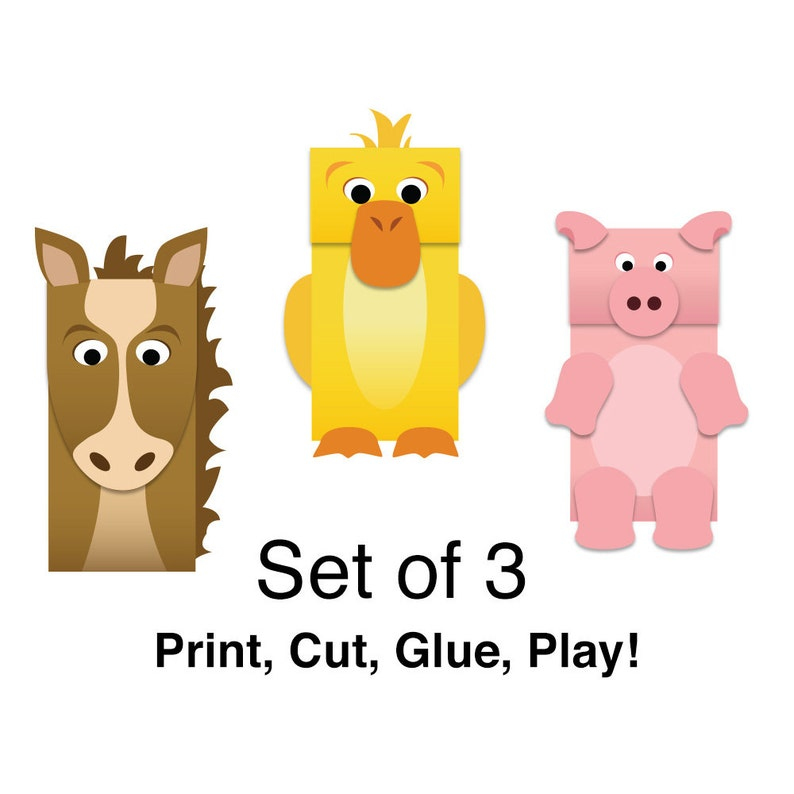 image about Printable Paper Bag Puppets referred to as Farm Pets Paper Bag Puppets - Comprehensive Coloration - Downloadable Children Craft - Fastened of 3