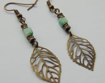 Jade and Bronze Leaf Drop Earrings