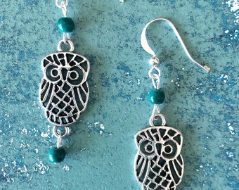Owl Earings with Turquoise