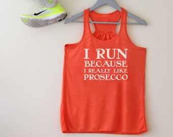 Funny Running Racerback Tank for Prosecco Lovers - Prosecco Gift - Gifts for Her - Gifts for Sisters - Funny Gym Tank - Squiffy Print