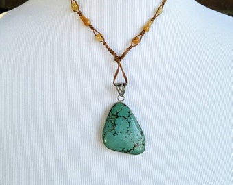Turquoise Necklace with Yellow Jade Macrame Necklace NBJ371