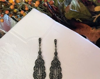 281c73259 Judith Jack Art Deco Earrings~ Vintage Earrings~ Art Deco Earrings~Sterling  Silver Marcasite Earrings~ NBJ515b