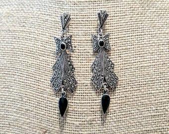 Elegant Marcasite Onyx Earrings ~ Think Downton Abbey ~ NBJ529 ~ Marcasite Earrings ~ Art Deco Earrings ~ Gift Wrapped