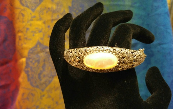 Sterling Silver Marcasite Mother of Pearl Bangle N