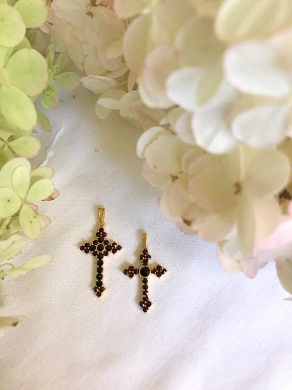 Garnet Cross Necklace ~ Cross Necklace ~ Garnet Ne