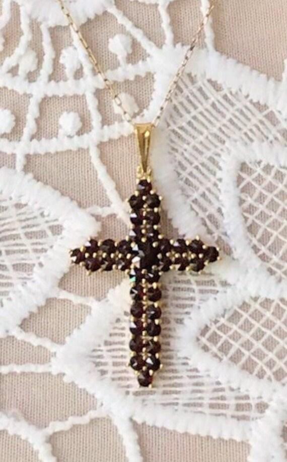 Garnet Cross Necklaces ~ Garnet Cross Necklace ~ G