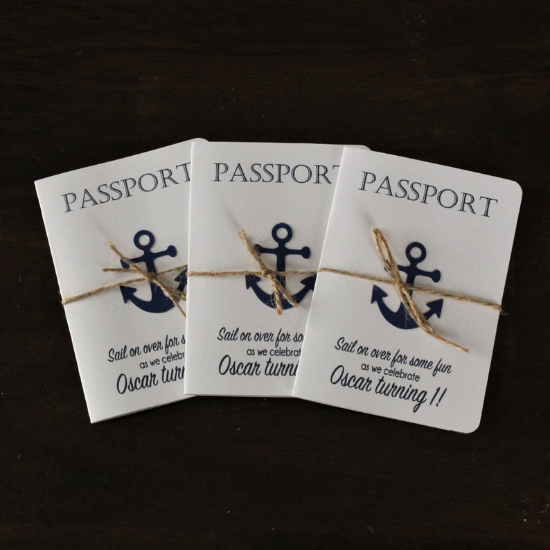 Passport Nautical Birthday Invitations Anchor Invites