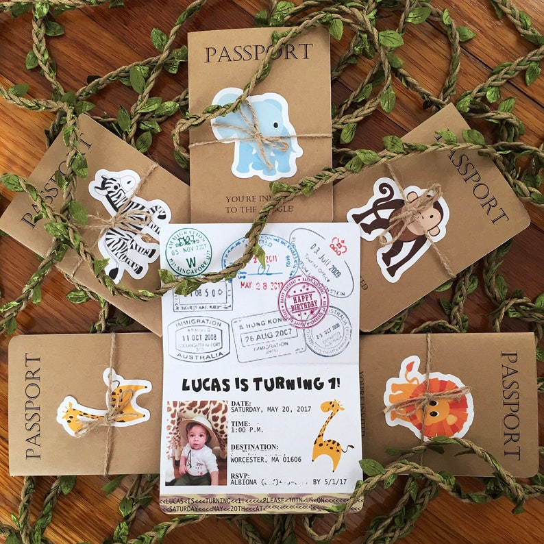 Passport To The Jungle Birthday Invitation Safari Kids