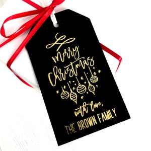 2 REAL FOIL Personalized Shimmer Champagne Silver Merry Christmas Baking Baked Goods Gift Foil Tags Foil Tags Gold Foil Tags