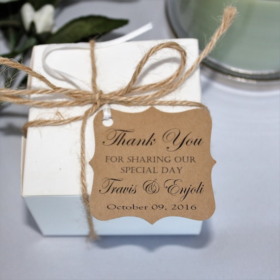 Wedding Thank You Tags Personalized Wedding Favor Tags Thank Etsy