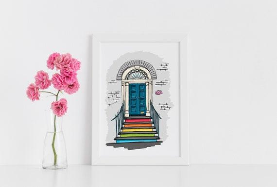 Rainbow Door Illustration Print, Rainbow Poster, Building Illustration