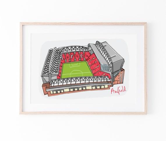 Anfield Print, Liverpool FC Stadium Illustration, Liverpool Wall Art, Football Gift