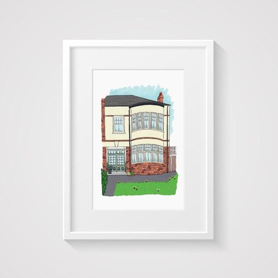 House Portrait Custom, House Illustration, New Home Gift