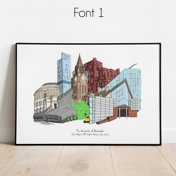 Graduation Manchester, Personalised Print, Manchester Uni Graduation Present, Manchester Graduation Gift