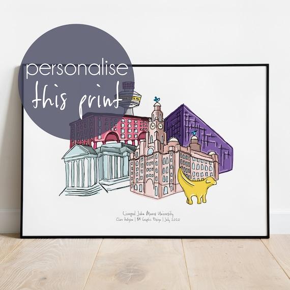 Liverpool Graduation Skyline Personalised Print