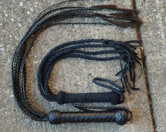 2 Lightweight Braided Floggers - Leather and Synthetic Horse Hair - Cat of 9 Tails