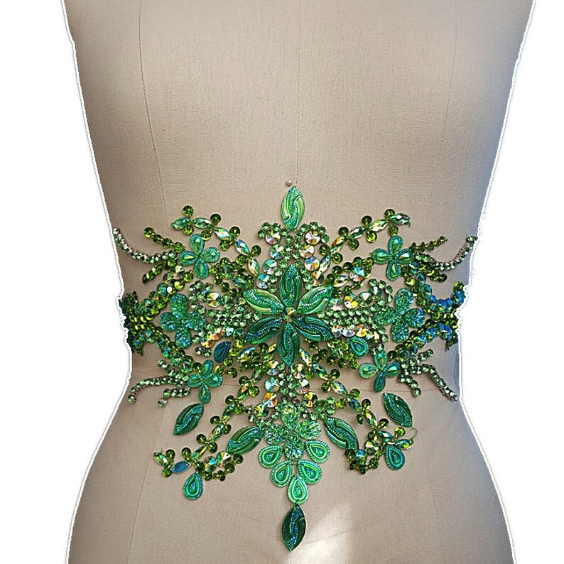 Green Embroidery Beaded Crystal Rhinestone Applique Patch  fa8bdfd46c58