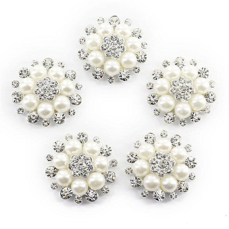 20pcs Crystal Pearl Flower Buttons DIY Sewing Embellishment Jewelry Findings