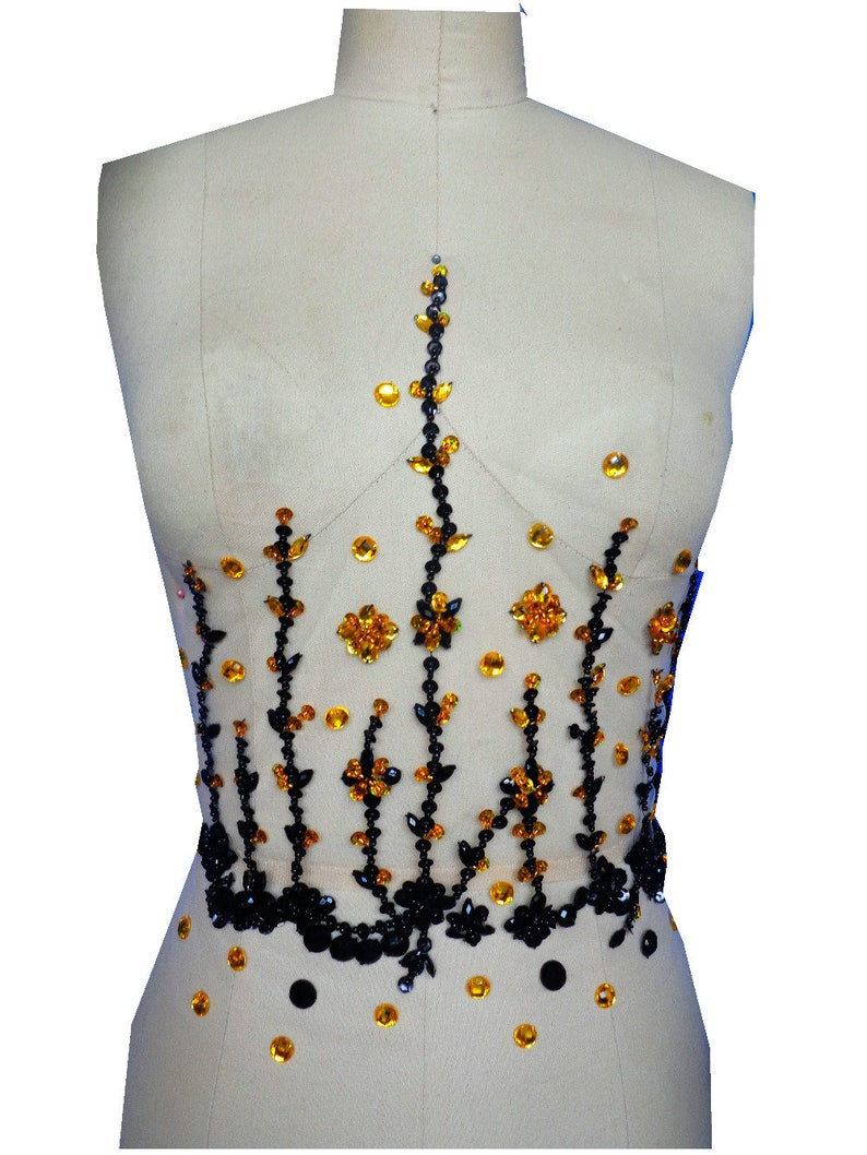 a3a2d293ac Handmade black/golden colour crystal patches sew on trim Rhinestones  applique with stones sequins beads 32*32cm FOR DRESS