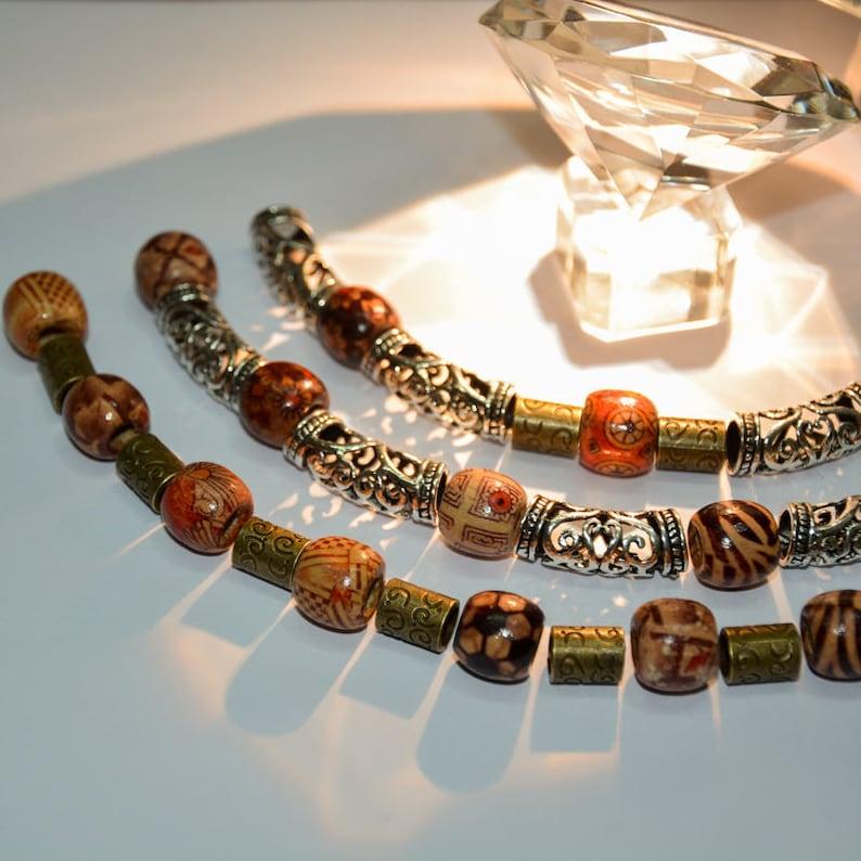 10Pcs Jewelry Wooden Color Tibetan Cuff Clip Beads Ring Tube Hair Dreadlock
