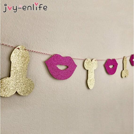 Glitter Willy Lips Banner Garland Hen Night Bachelorette Party Hanging Decor