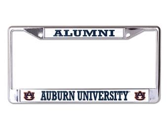 Auburn University Chrome Diamond Plate Car Tag