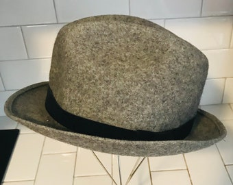 142e85753ad1d Vintage Pendleton wool Fedora hat gray with black suede Portland Oregon 100%  Virgin wool size 7 1 4 Unisex Winter Wool Hat