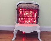 Upcycled Repurposed Enamel Night Light LED burning electric door stop decor fireplace farmhouse cottage Christmas winter
