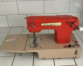 Child size Signature Junior sewing machine hand crank Battery Operated Western Germany Metal drop panel front 1950 39 s collectible display